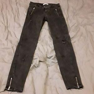 Washed black moto style skinny jeans